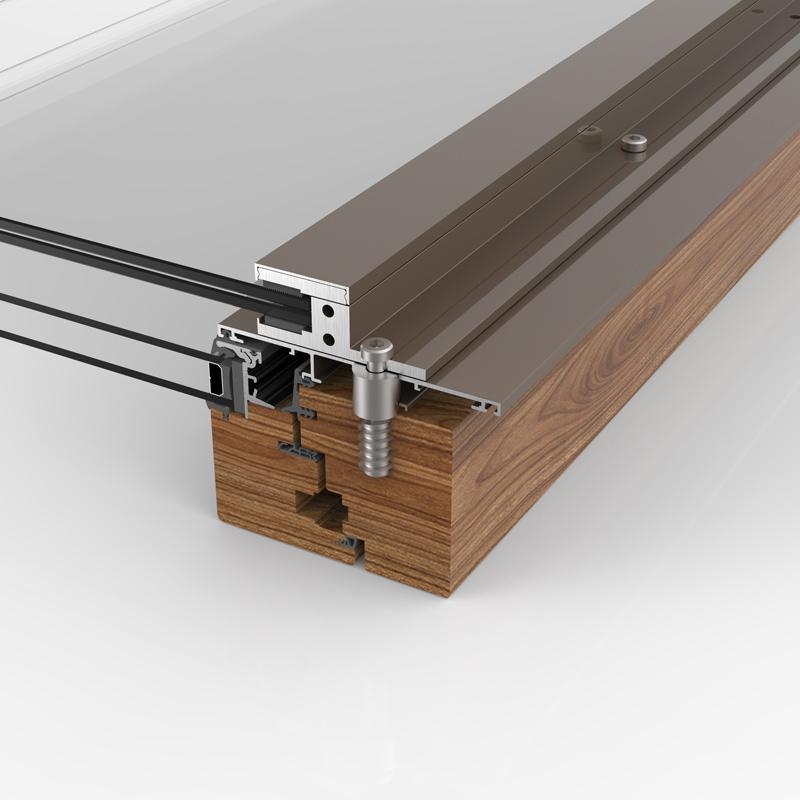 Glasabsturzsicherung auf Holz-Alu Profil