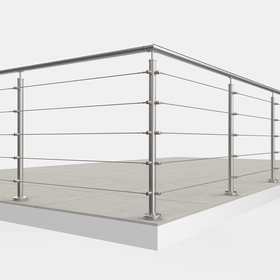 Geländersystem Aluminium mit Seilfüllung